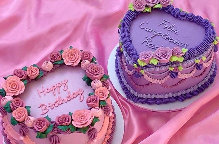 two retro style cakes