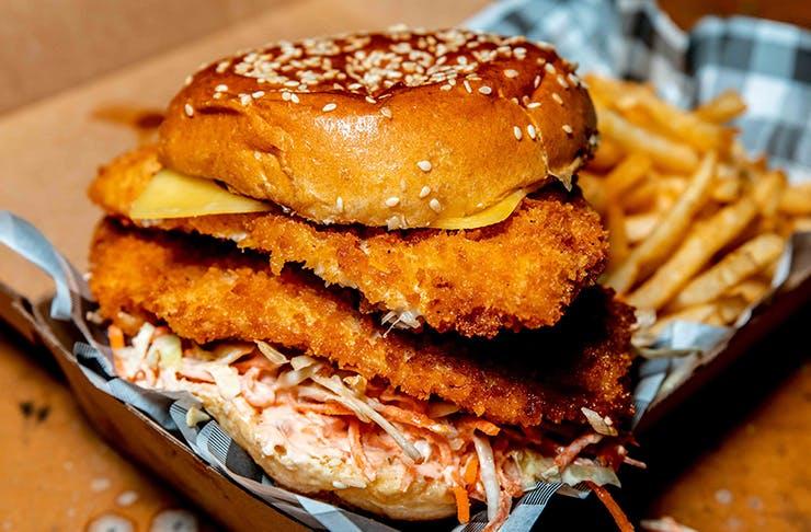 burger inside takeaway box