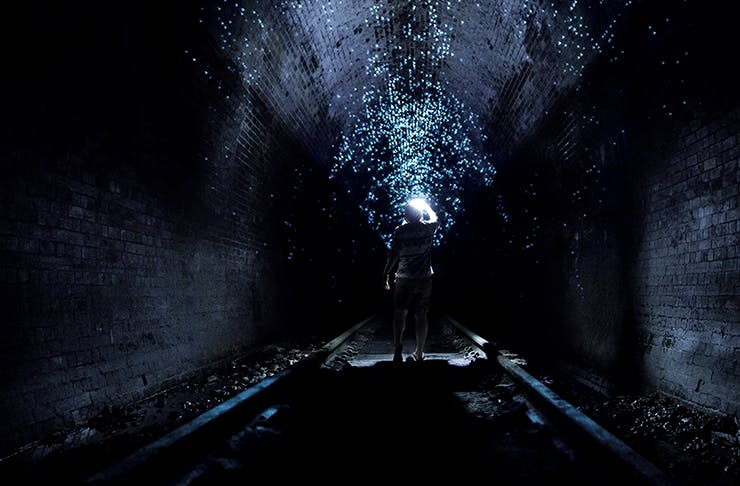 person standing inside glow worm tunnel with torch on