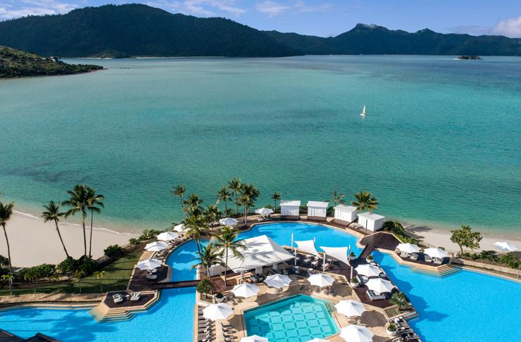 pool expanding onto shoreline of island