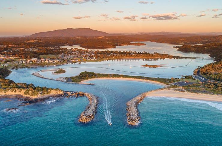 australian town estuary at sunset