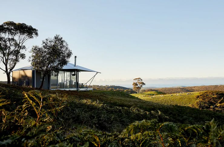 glamping tent perched on top of valley