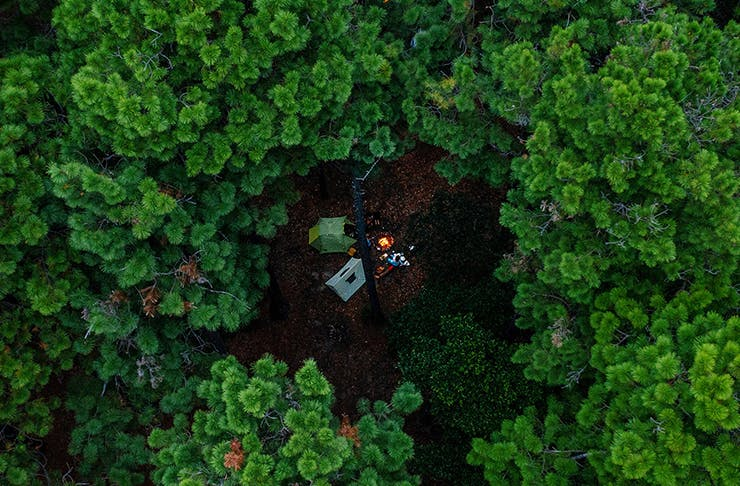 aerial view of campers in clearing in orlnay state forest