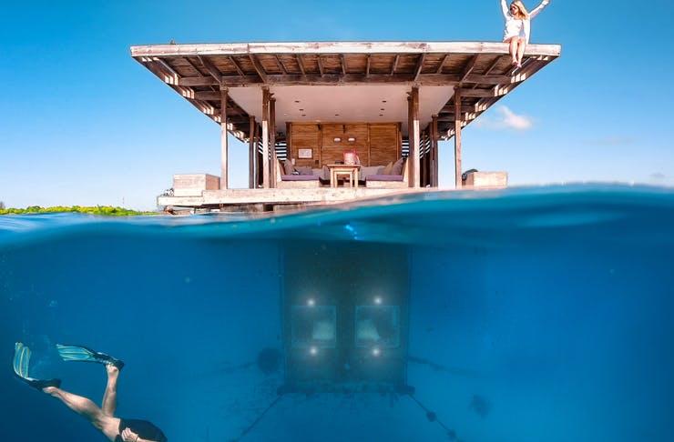 underwater view of tanzania's incredible manta resort