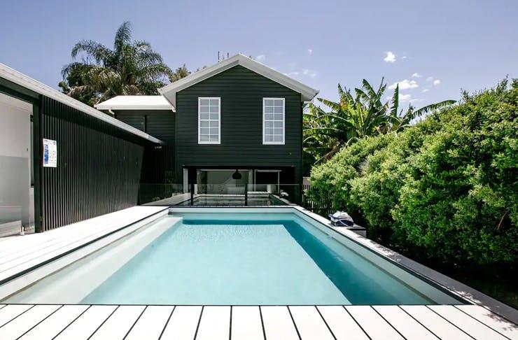 stunning modern pool house
