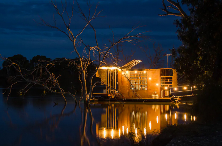 tiny home located on margaret river at nighttime