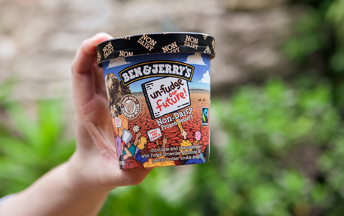 a tub of ben & jerry's new ice-cream flavour, Unfudge Our Future