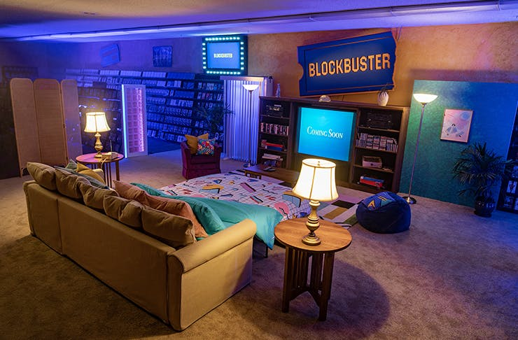 interior of last blockbuster in the world for one night sleepover