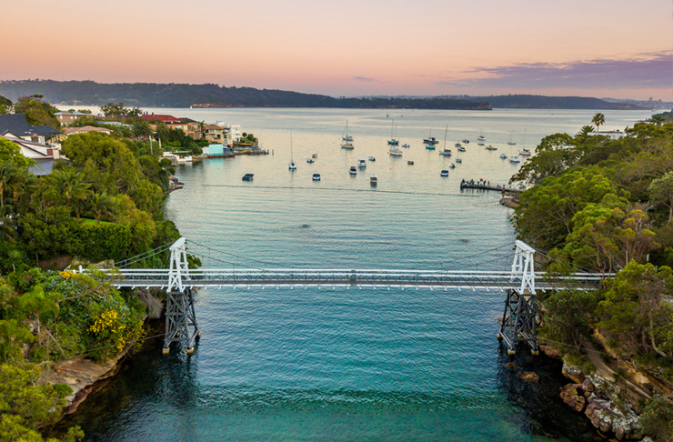 aerial view of parsley bay at sunset