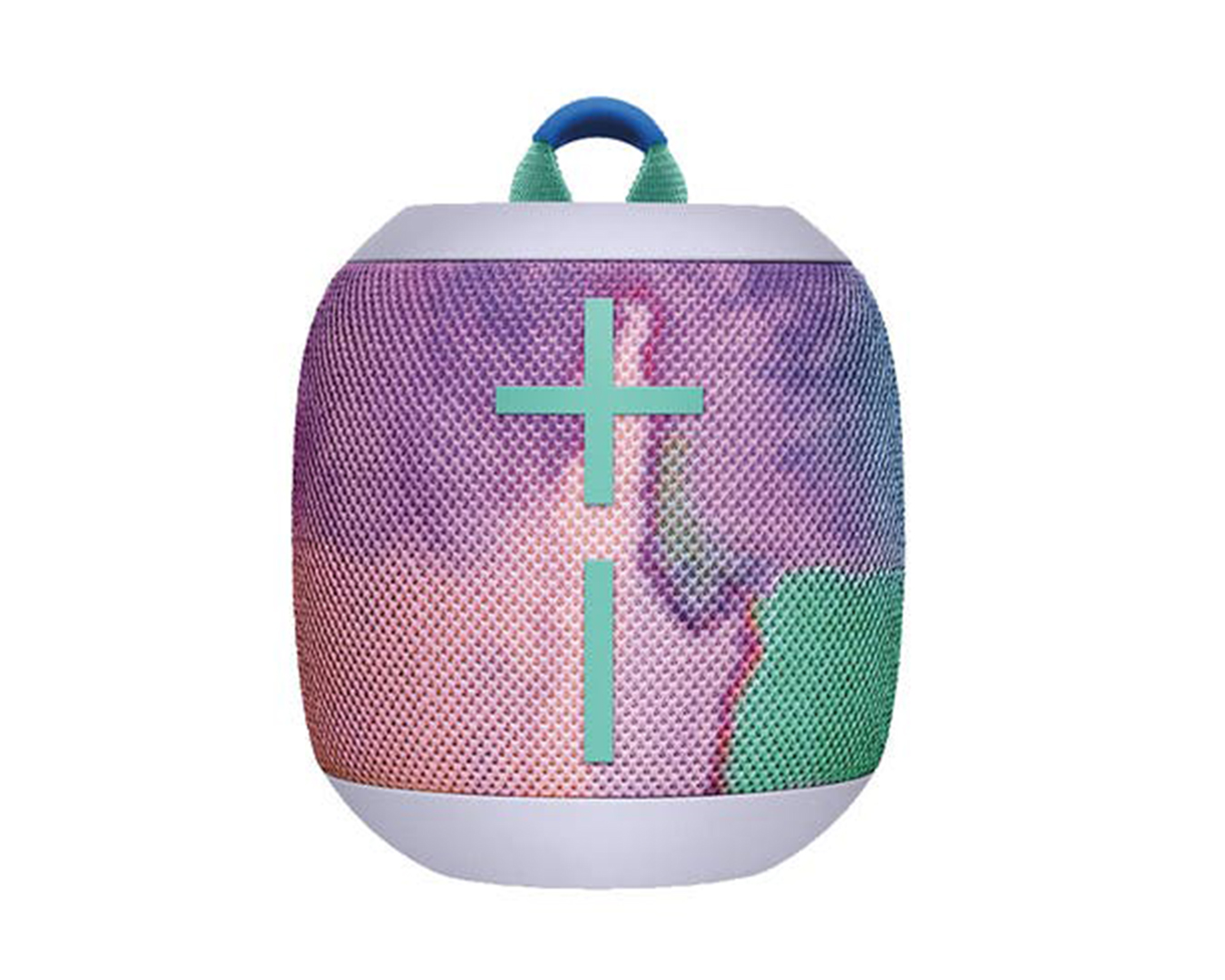 A colourful portable speaker.