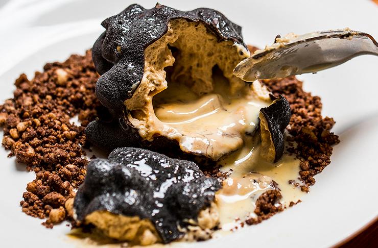 truffle cut in half on plate