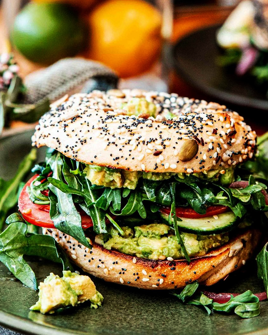 seeded bagel with avocado