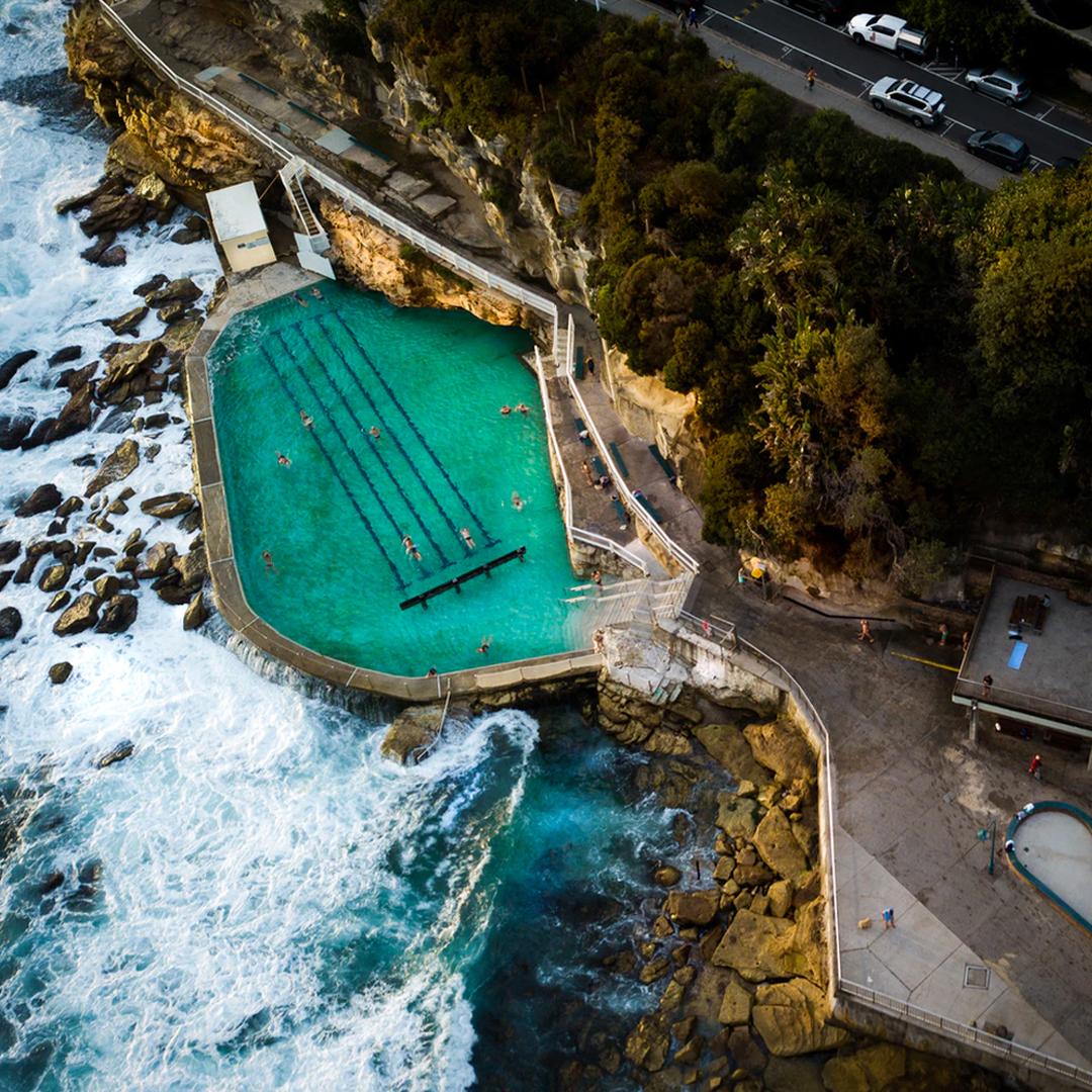 aerial view of bronte's iconic ocean pool