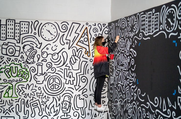 girl standing on ladder painting wall