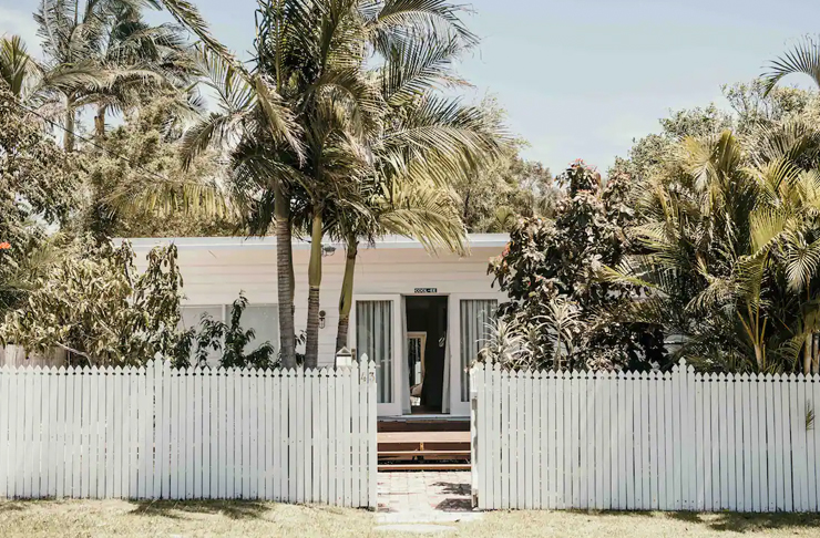 beach house surrounded by palms