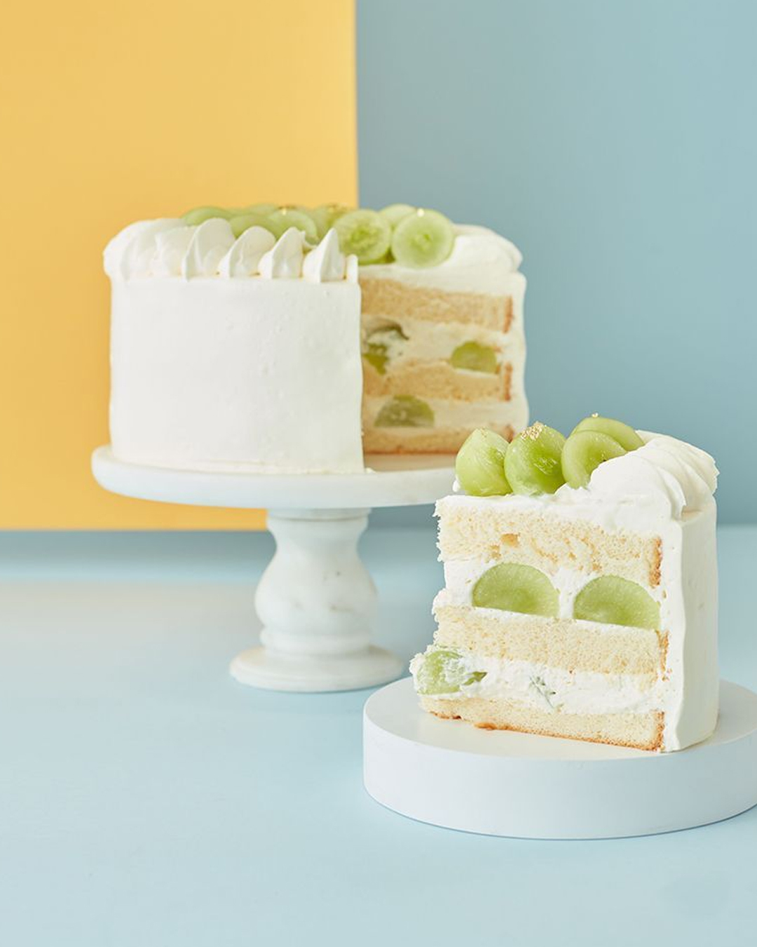 cake on turner with sliced piece in front