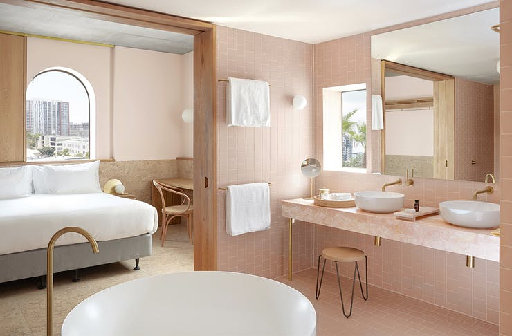 The pastel interior of Calile Hotel