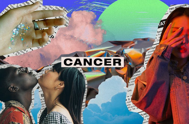 a colourful collage of images with the text cancer on top.