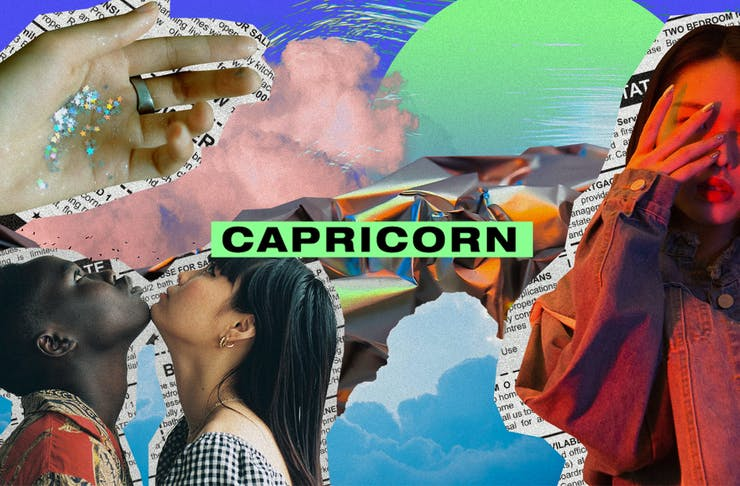 a colourful collage of images with the text Capricorn on top.