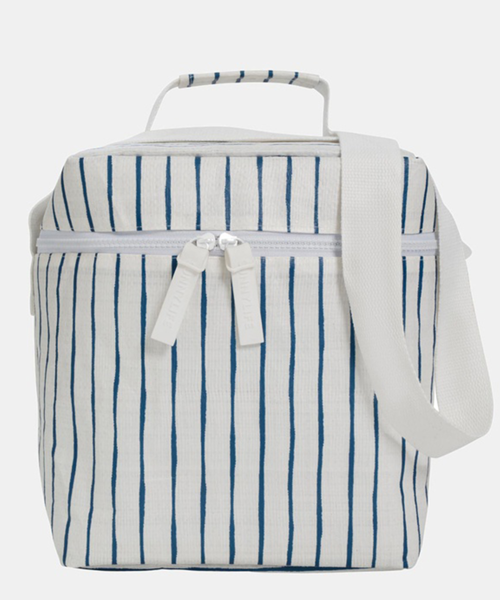 a blue and white striped cooler bag