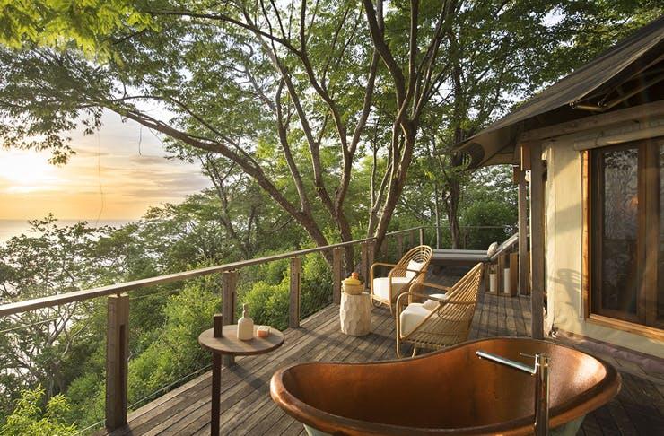 luxury eco resort in costa rica with outdoor deck bath