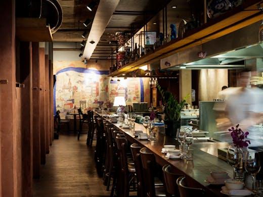 dark interior of karaoke bar and restaurant