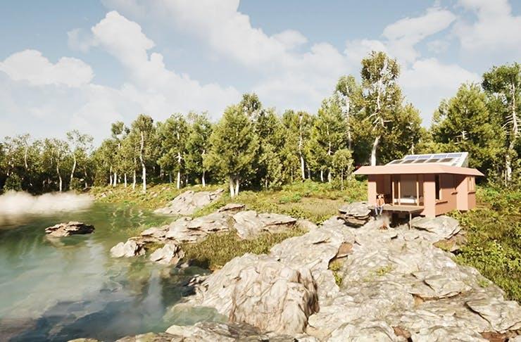 tiny eco home located next to river