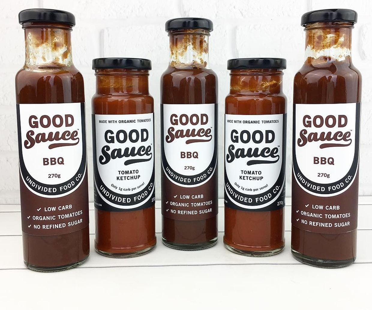 sauces lined up