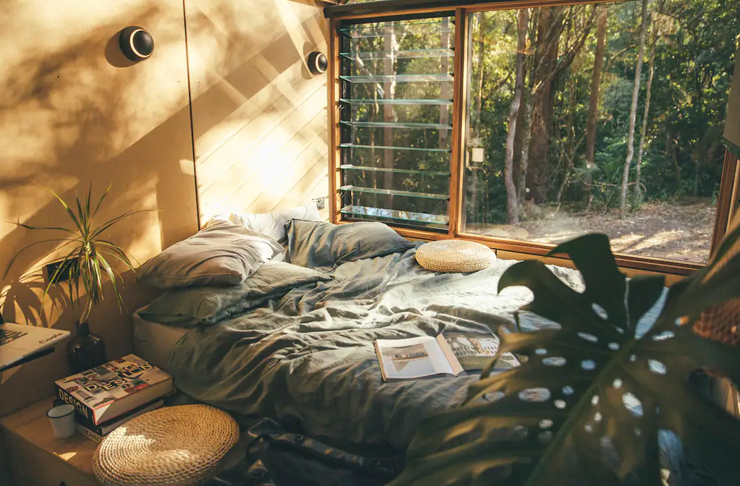 bed inside tiny home