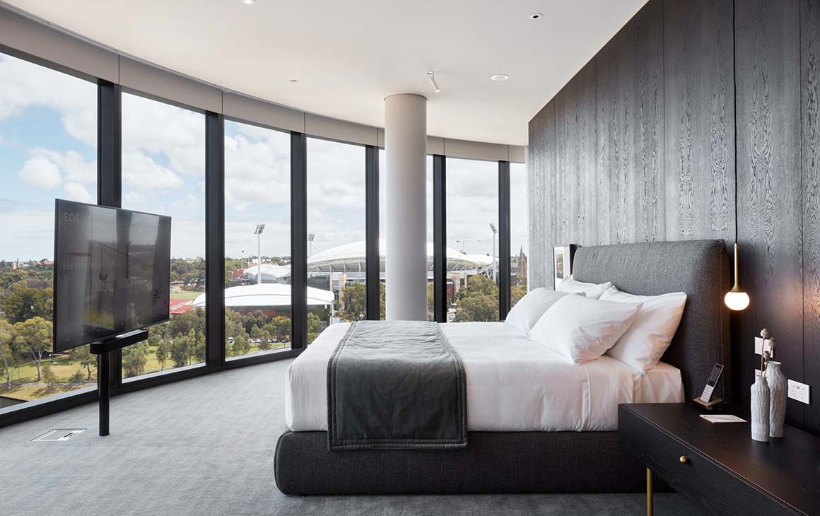 A suite at Eos by Skycity with floor to ceiling windows.