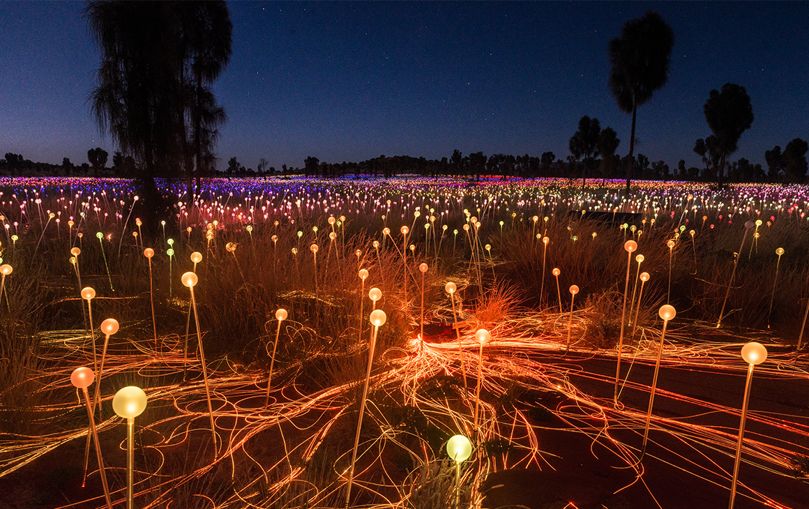 a stunning view of the field of light by bruce munro.