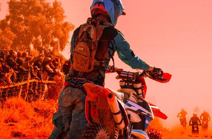motorcyclist in the australian desert