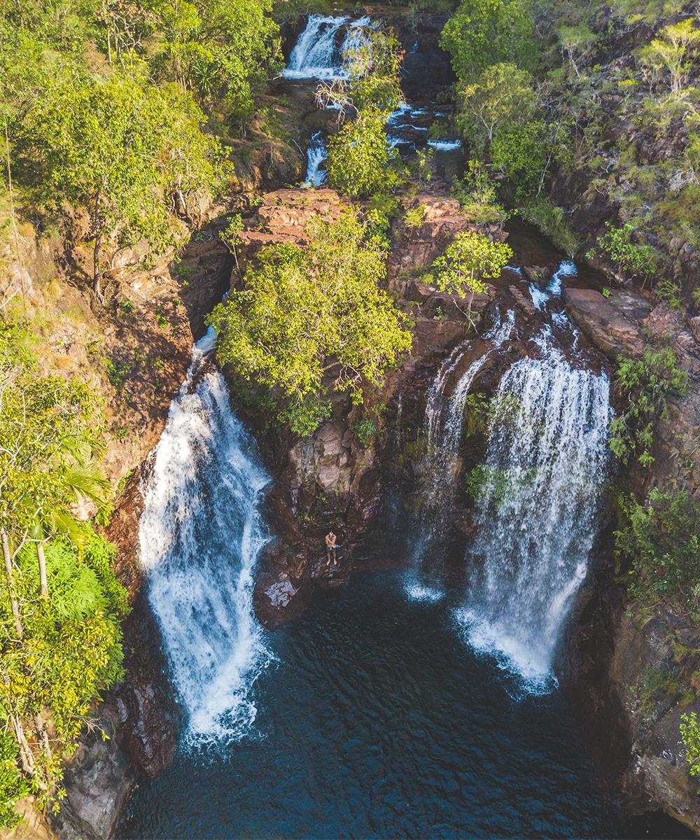 the twin falls of Florence Falls cascade down a rockface
