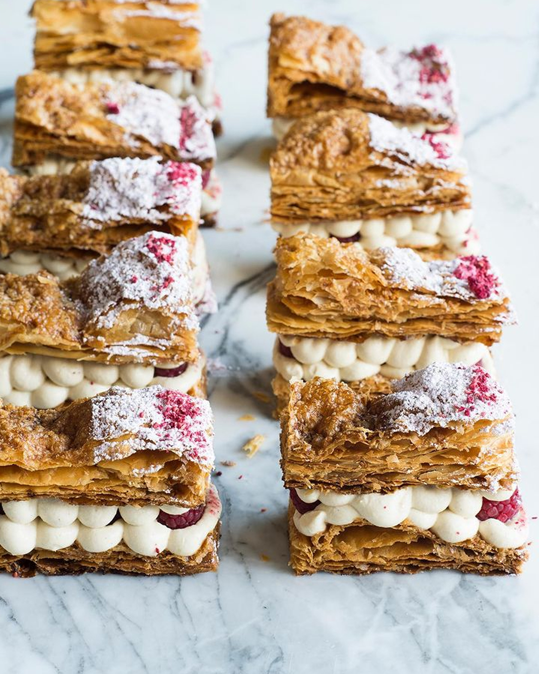 rows of vanilla slice