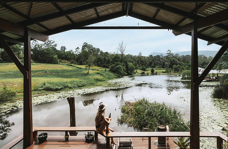 wooden deck overlooking forest pond