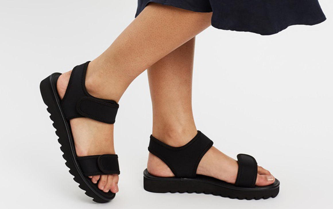 a close up of a pair of black sandals.