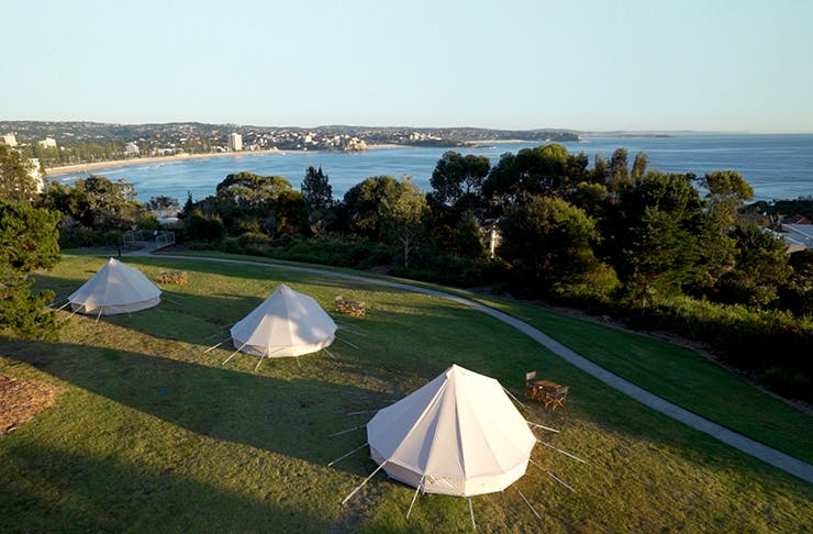 bell tents on private estate on headland