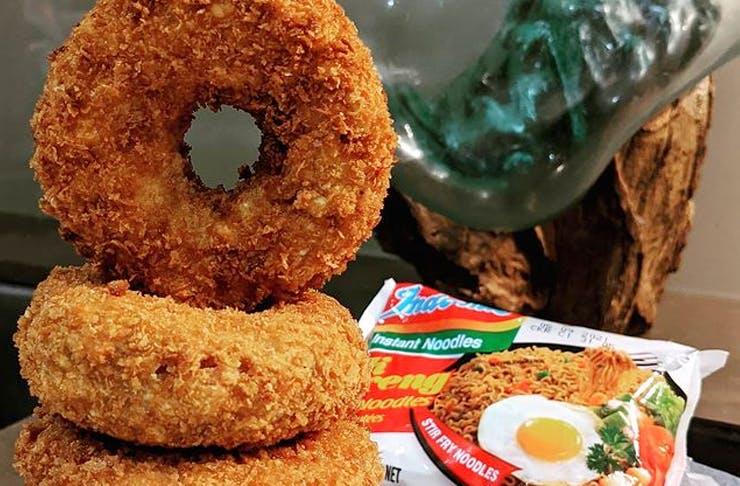 mi goreng doughnuts stacked