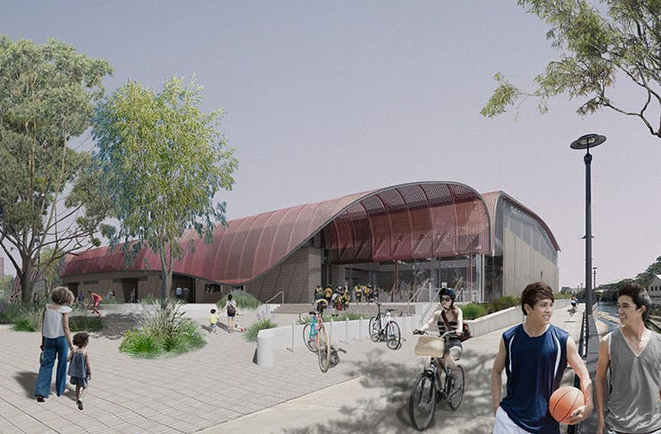 render of proposed recreation centre in green square