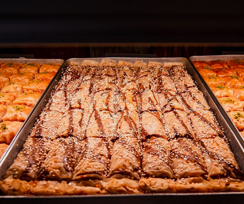 chocolate baklava in a tray