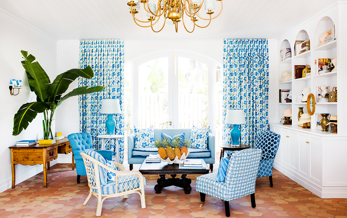 a blue and white lounge room at Halcyon House
