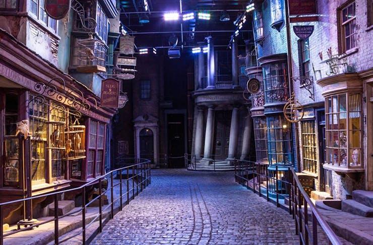Diagon Alley at the london harry potter studio tour.
