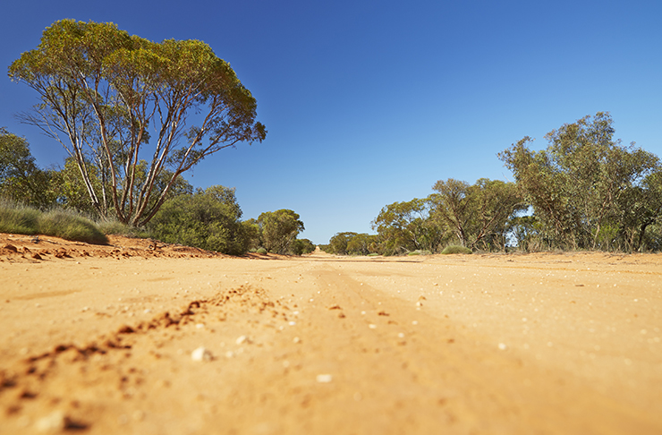 road view of highway on the way to mungo national park