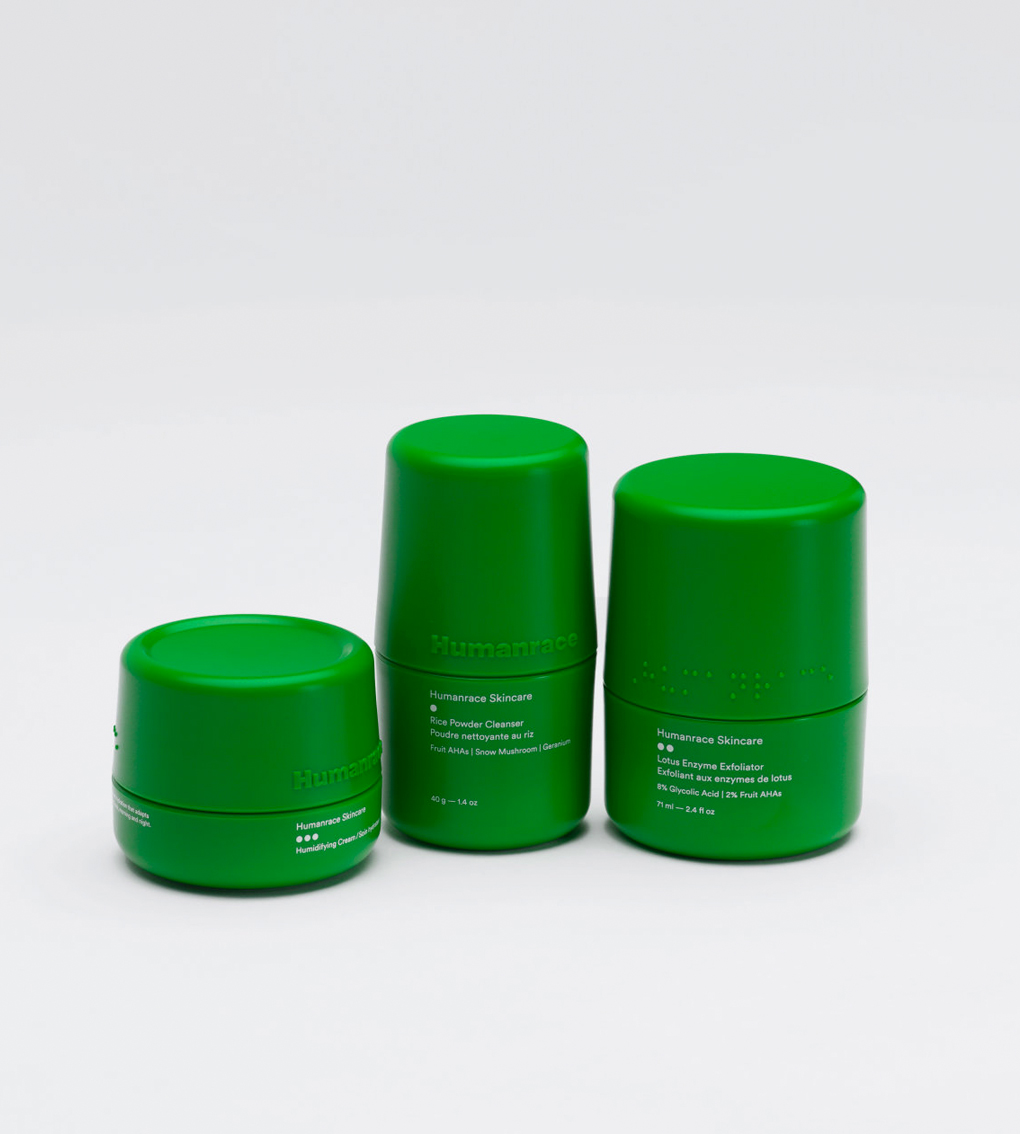 three skincare products in line with braille markings