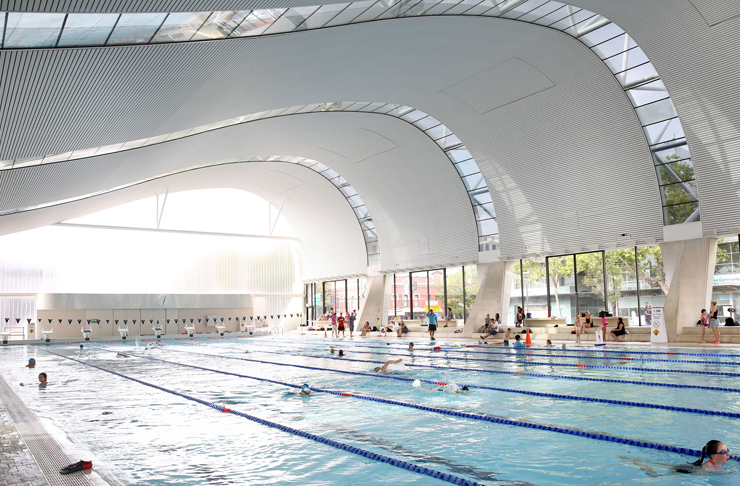 aquatic centre with wave ceiling