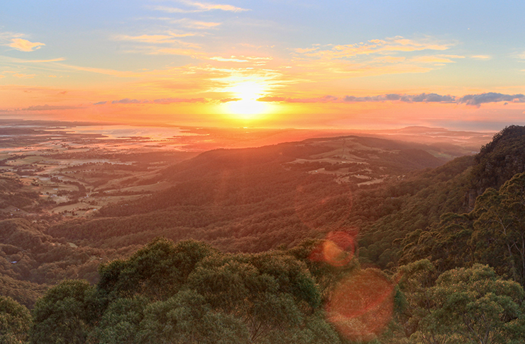 lookout at sunset over illawarra