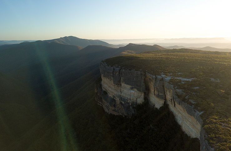 aerial view of cliff tops in Kanangra-Boyd National Park