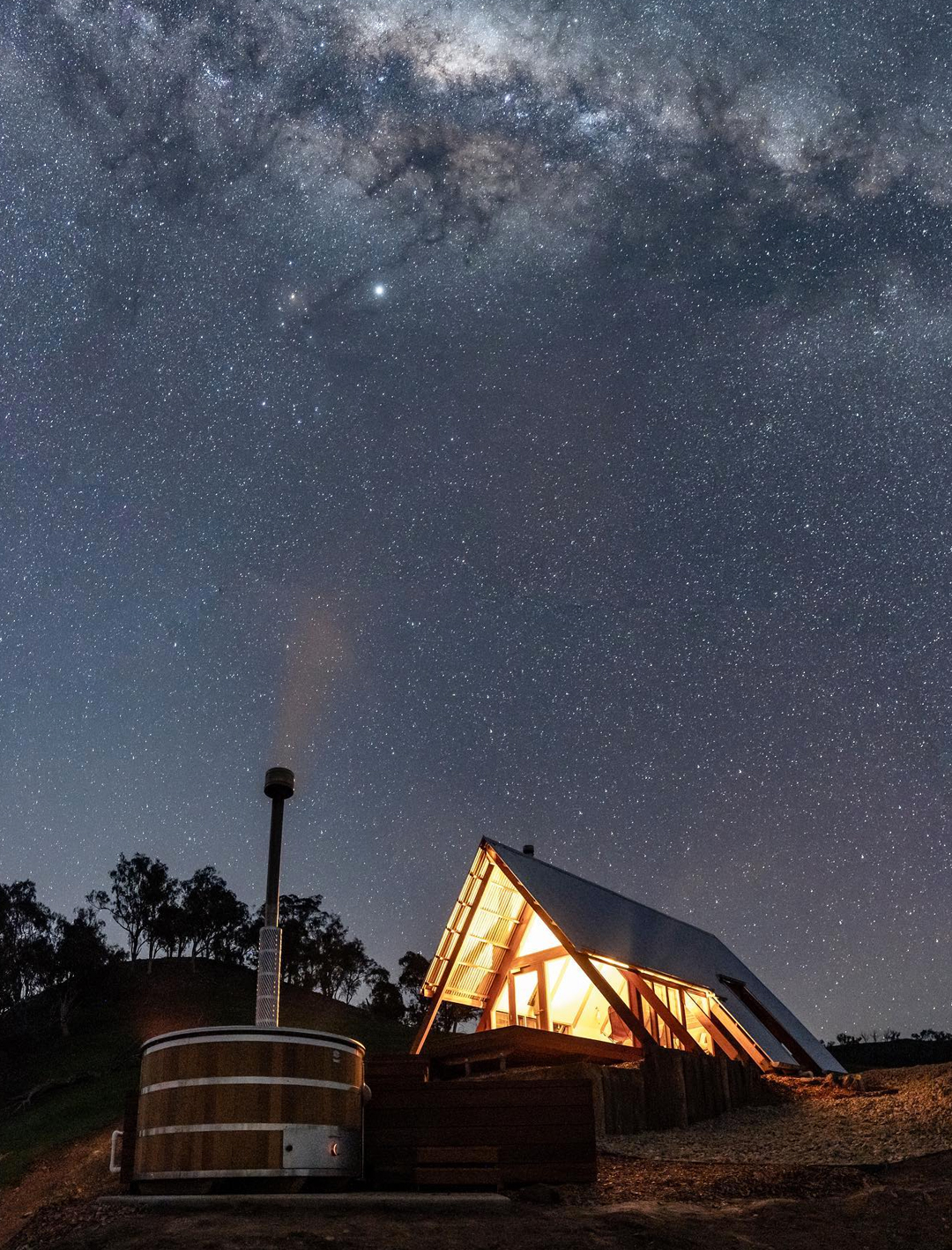kimo estate's eco hut at night surrounded by stars