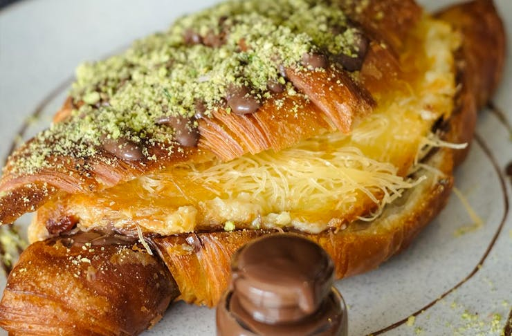 knafeh croissant with nutella inside