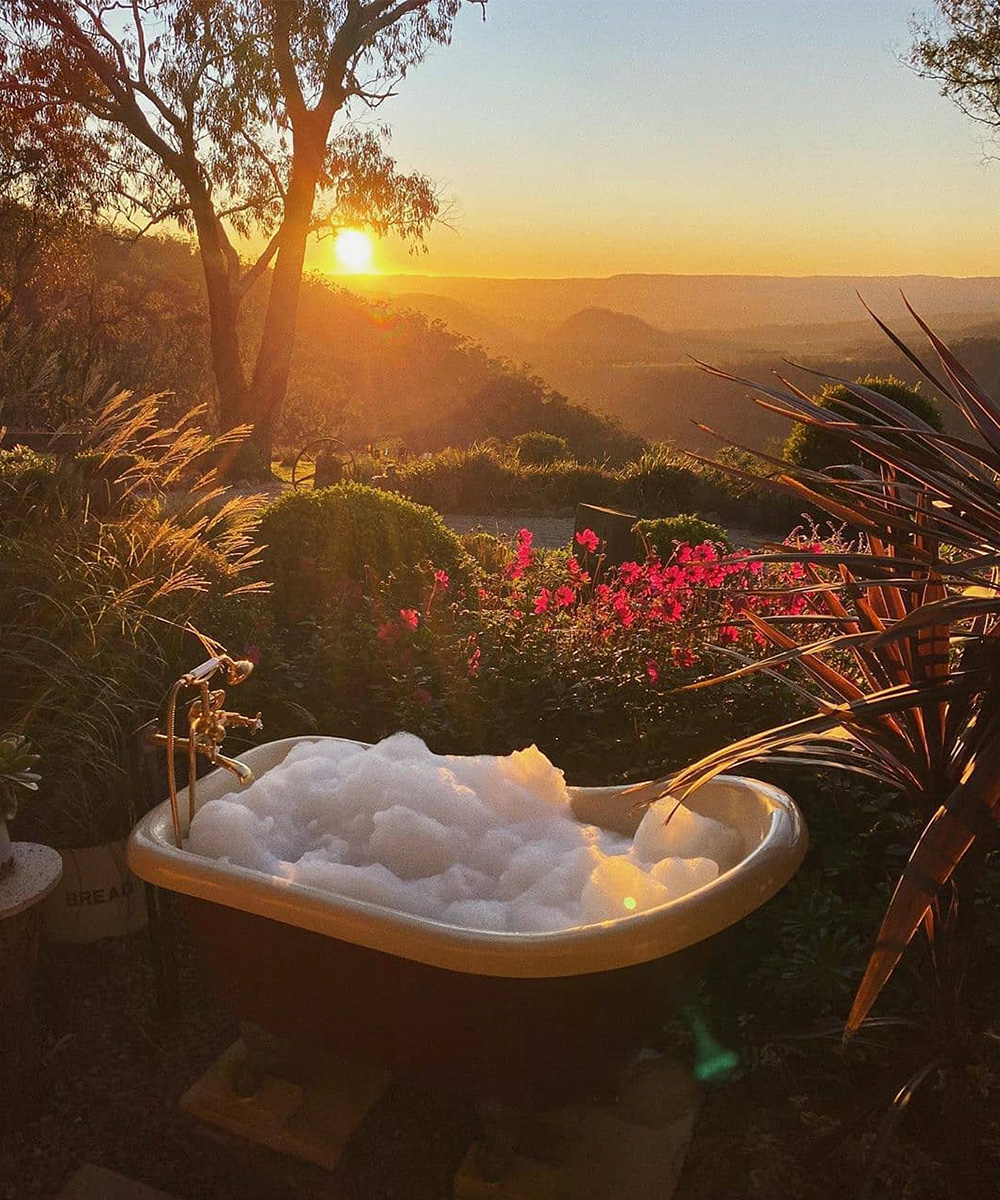 a claw foot bathtub sits in nestled amongst trees and flowers at sunset.